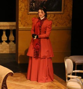 Coat, skirt, petticoat and silk scarf made by Sophea for the character of Mrs Erlynne, Lady Windamere's Fan, Nov 2014. Photo's courtesy of Nick Moran and Peter McCoy